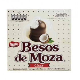 BESOS DE MOZA  - CHOCOLATE BONBONS WITH COCONUT FLAVORED , BOX OF 9 UNITS